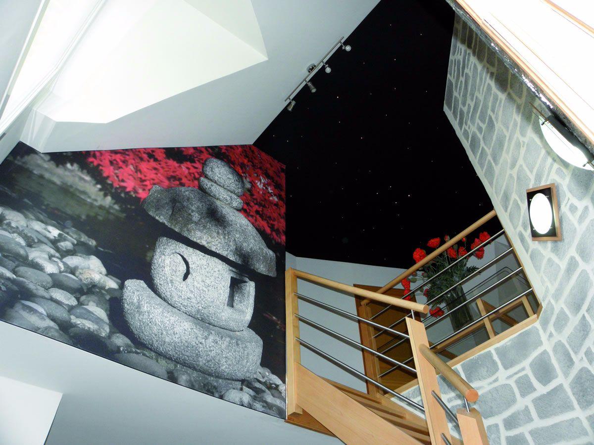 les escaliers se font beau avec la toile tendue clipso. Black Bedroom Furniture Sets. Home Design Ideas