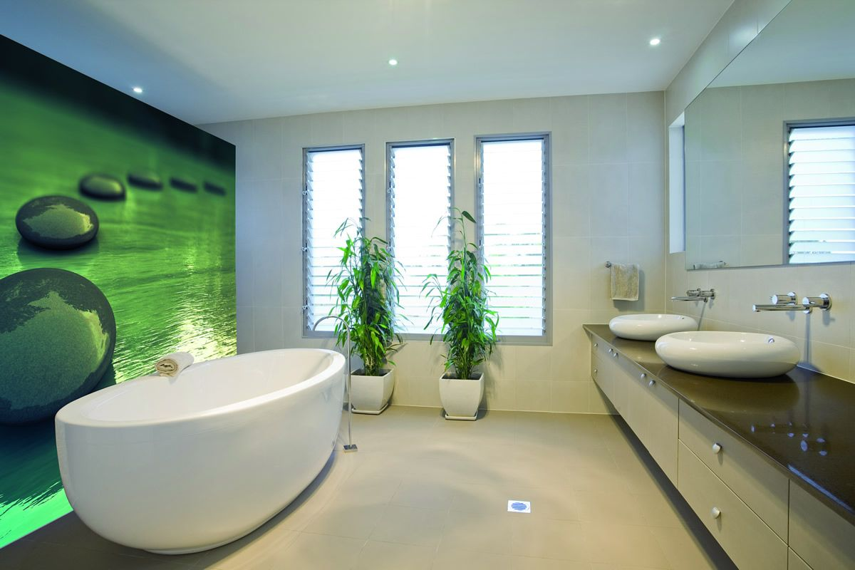 la salle de bains se pare du rev tement tendu clipso. Black Bedroom Furniture Sets. Home Design Ideas